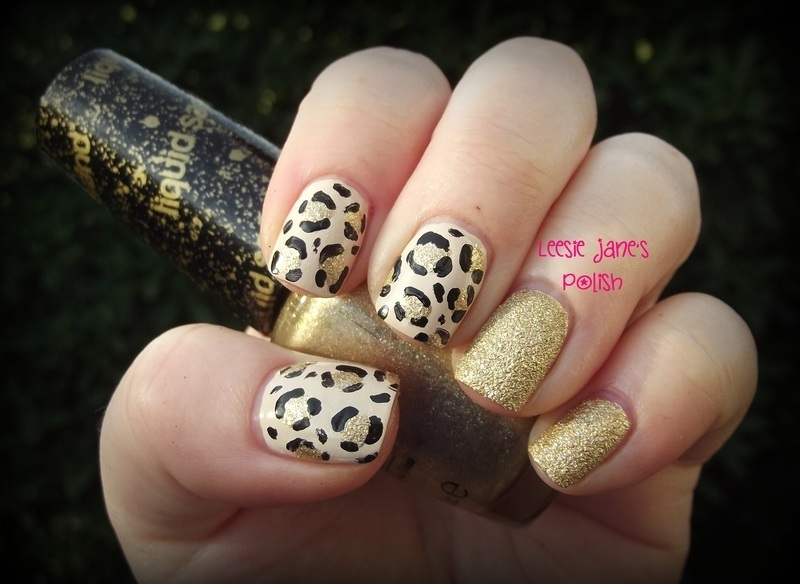 Textured Gold Leopard Print nail art by Lisa Overend