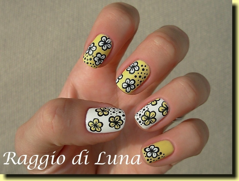 White flowers on yellow nail art by Tanja
