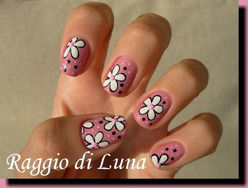 White flowers on light pink nail art by Tanja