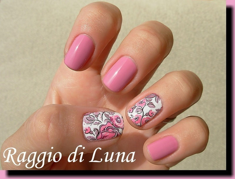 Water decal manicure Light pink flowers nail art by Tanja