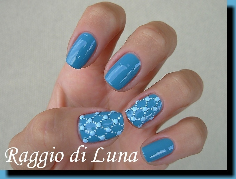 Dot-net on blue nail art by Tanja