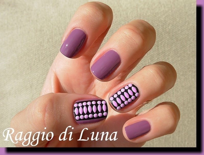 Purple neon studs on purple nail art by Tanja