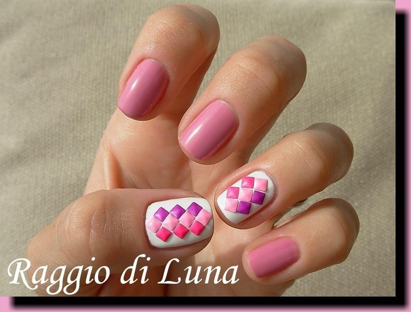 Pink & purple square neon art studs manicure nail art by Tanja
