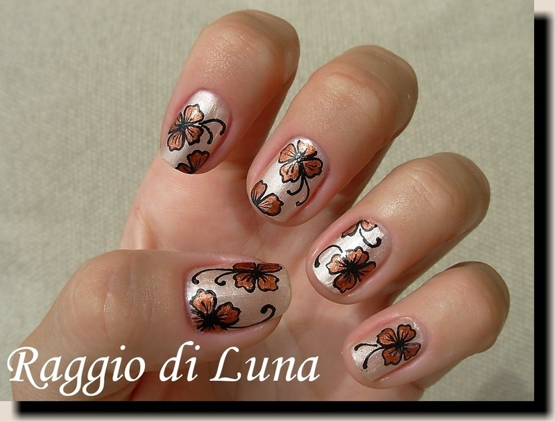 Copper flowers on satin beige nail art by Tanja