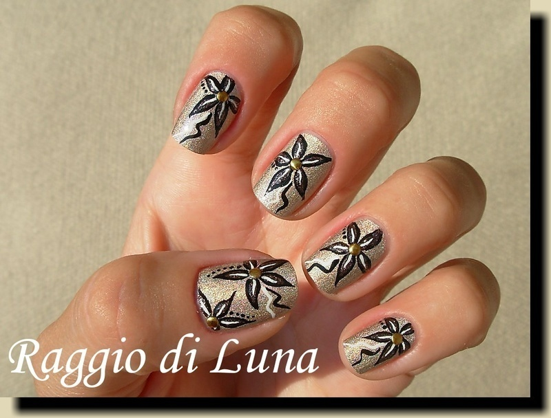 Flowers on silk taupe holo nail art by Tanja
