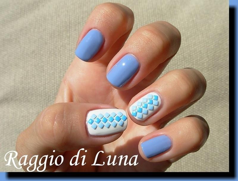 Blue square nail art studs manicure nail art by Tanja