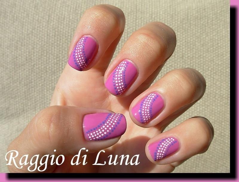 Dot ribbon nail art by Tanja