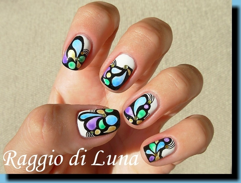 Abstract water colour manicure nail art by Tanja