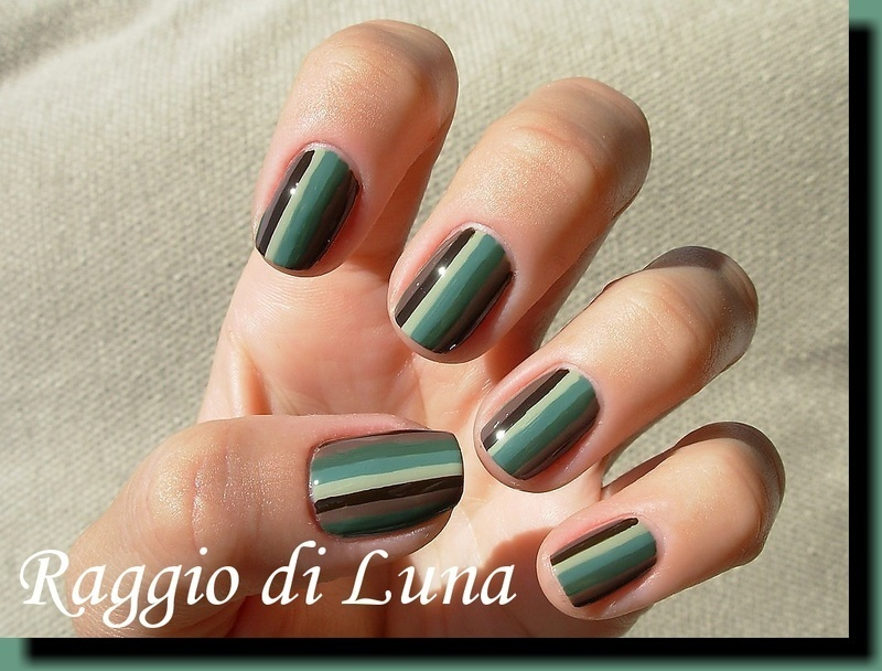 Stripes: green & brown nail art by Tanja
