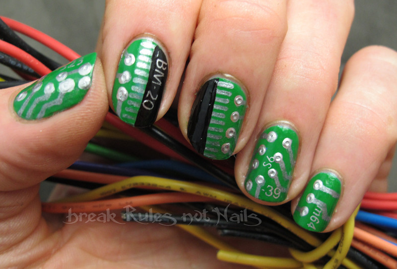 Circuit board nails nail art by Michelle