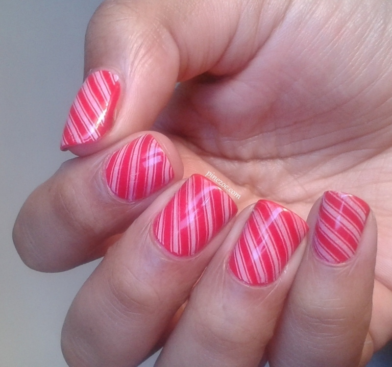 Candy Cane nail art by Pinezoe