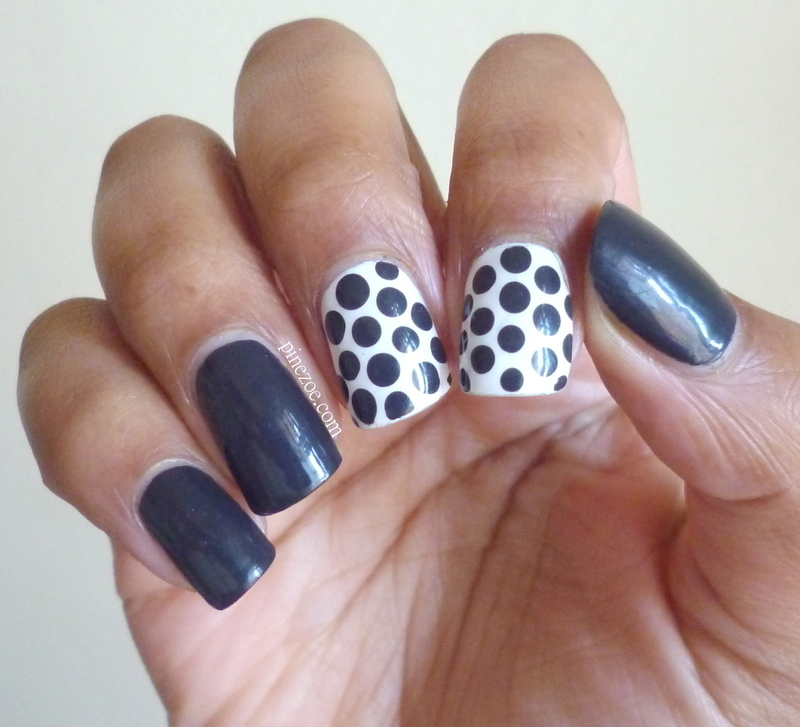 Grey dotticure nail art by Pinezoe