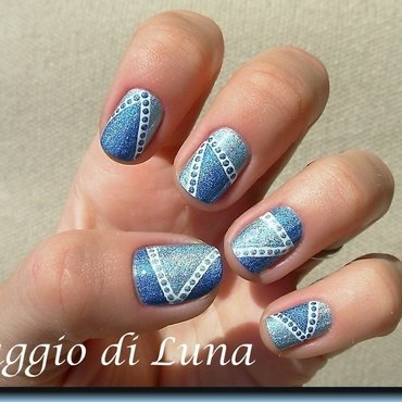 Abstract double blue holo manicure nail art by Tanja