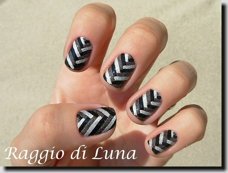 Fishtail braid black&grey&silver manicure nail art by Tanja