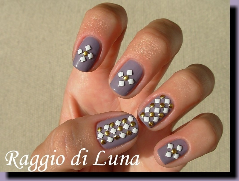 Round and square studs on a-england Guinevere nail art by Tanja