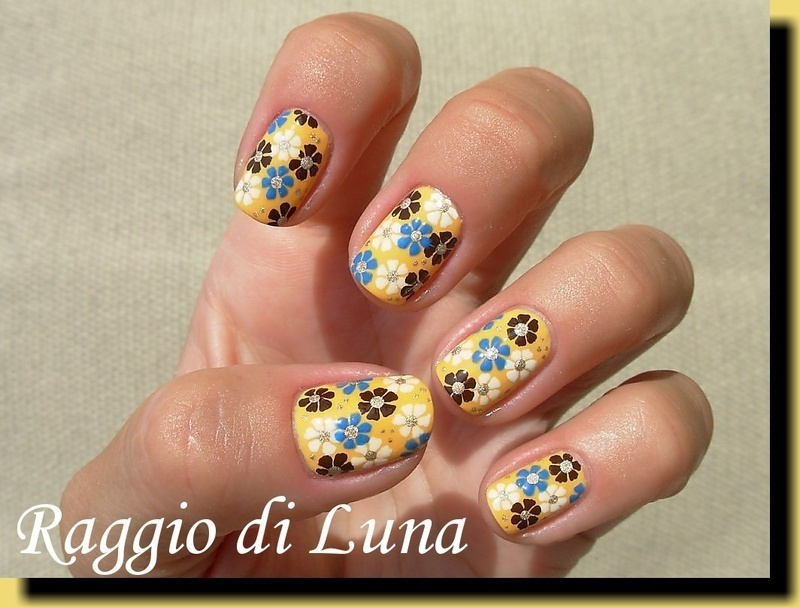 Summer flowers on yellow nail art by Tanja