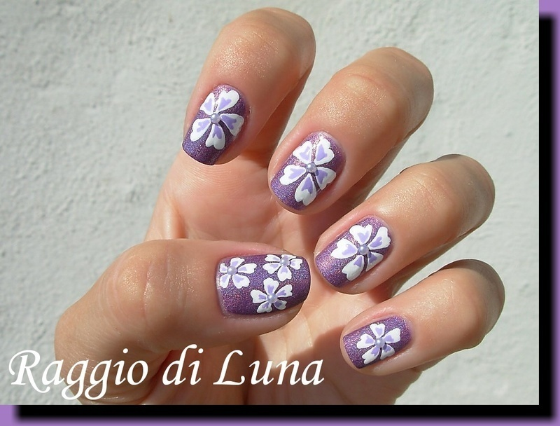 White flowers on purple holo nail art by Tanja
