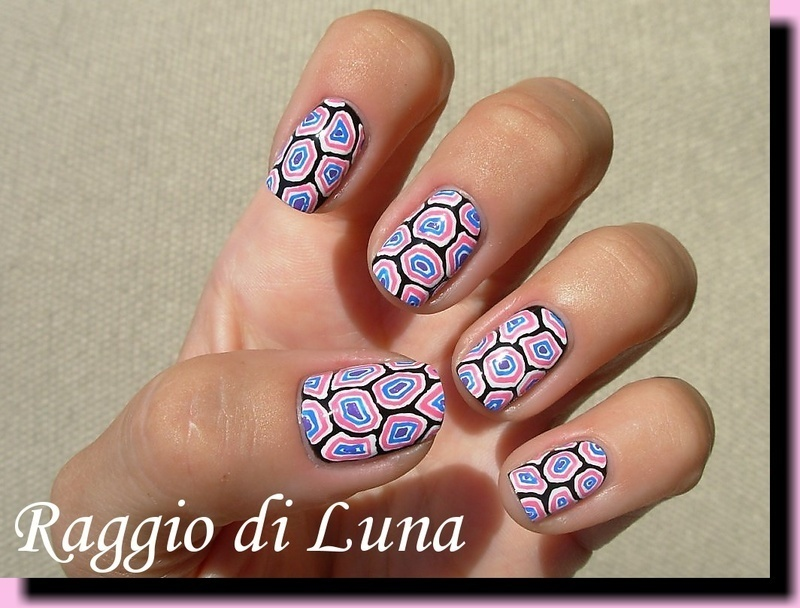 Crazy colours turtle shell nail art by Tanja