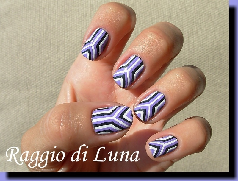 Geometric manicure - lines grey & purple & white nail art by Tanja