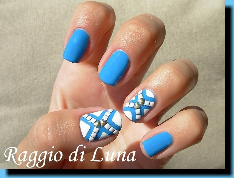 Crossroad on light blue nail art by Tanja