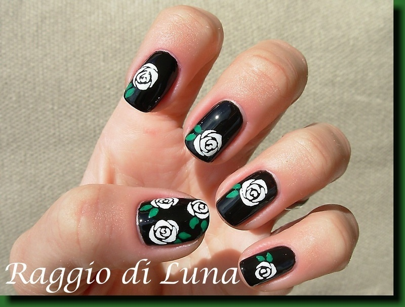White roses on black nail art by Tanja