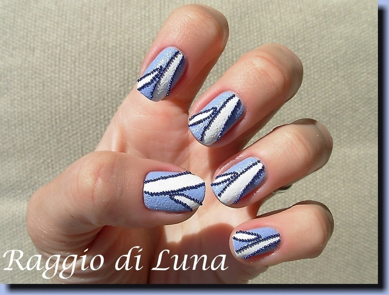 Blue beads and white stripes on Kiko Sugar Mat Wisteria nail art by Tanja