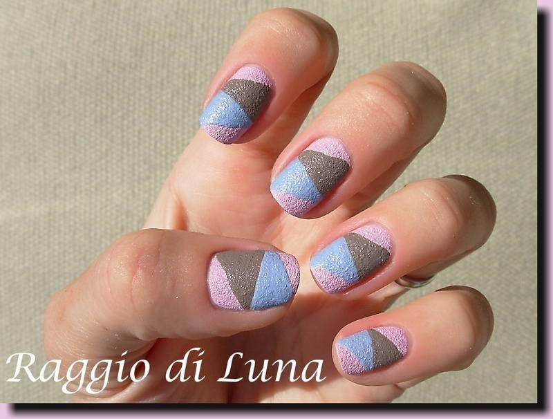 Diagonal mix of Kiko Sugar Mat nail art by Tanja