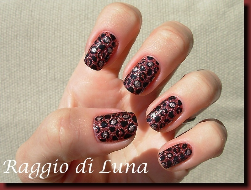 Leopard on burgundy nail art by Tanja