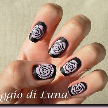Lilac textured roses on matte black nail art by Tanja