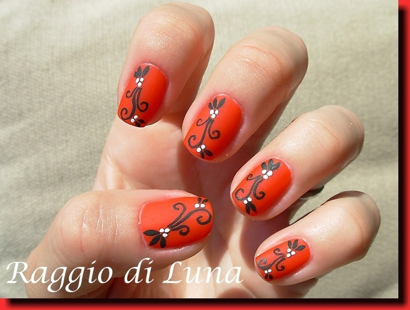 Abstract black plant on red nail art by Tanja