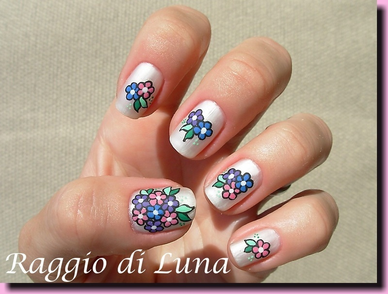 Matte flowers on white nail art by Tanja