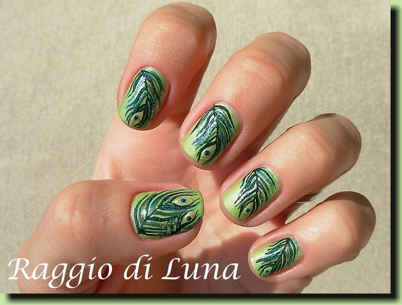 Peacock feathers nail art by Tanja