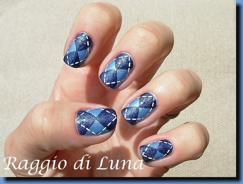 Double blue plaid desing nail art by Tanja