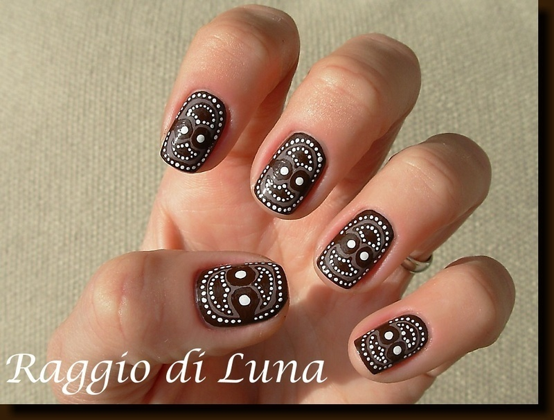 Tribal manicure brown&white nail art by Tanja