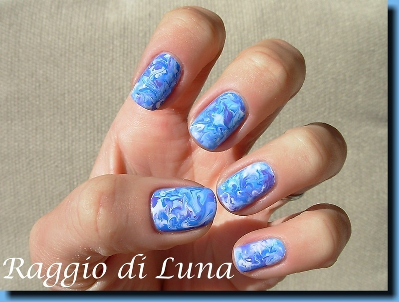 Acrylic colours marble nail art by Tanja
