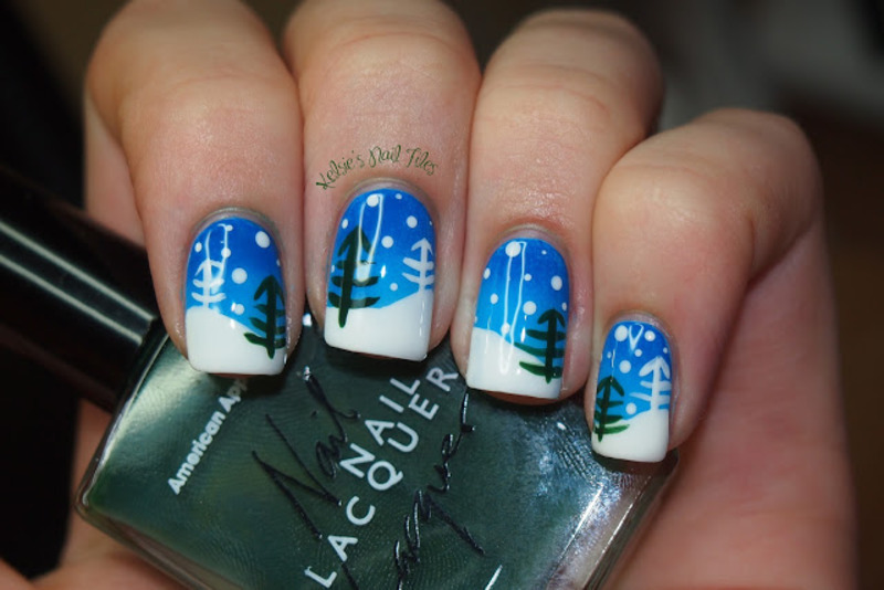 Winter Landscape nail art by Kelsie