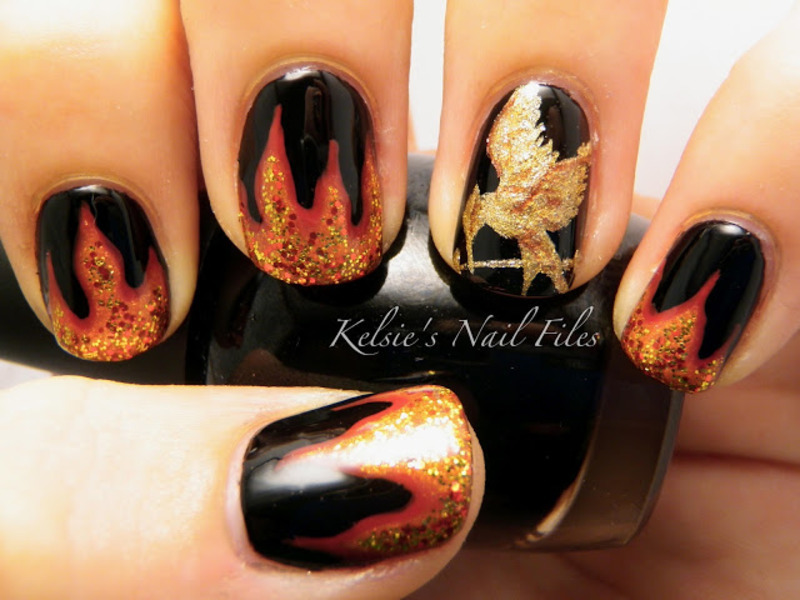 Hunger Games Mocking Jay nail art by Kelsie