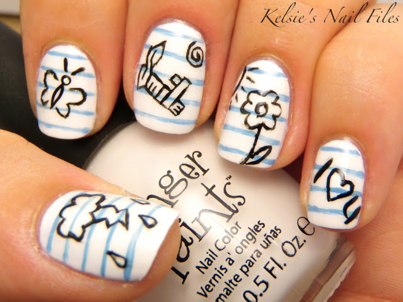 Notebook doodles nail art by Kelsie