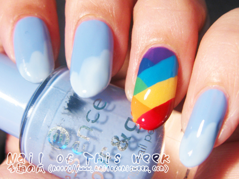 Rainbow Fishtail nail art by Chiro