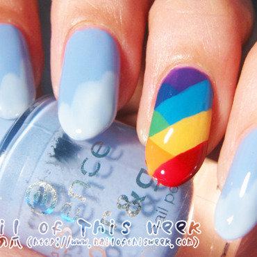 Rainbow Fishtail nail art by Chiro
