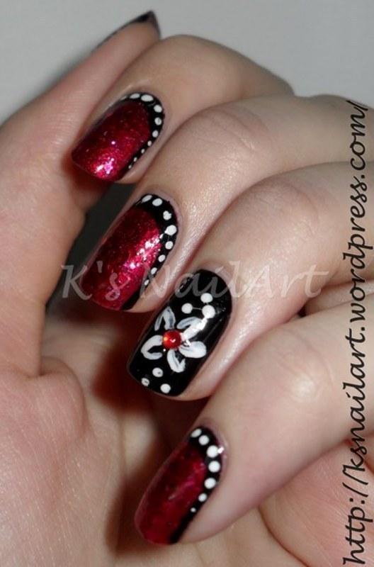 "Black and Red Ruffian nail art by Kairi E ""K's NailArt"""