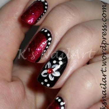"Black and Red Ruffian nail art by Kairi E ""K's NailArt"""