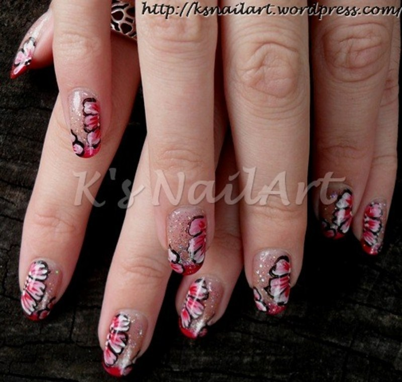 "One-stroke flowers with red French manicure nail art by Kairi E ""K's NailArt"""