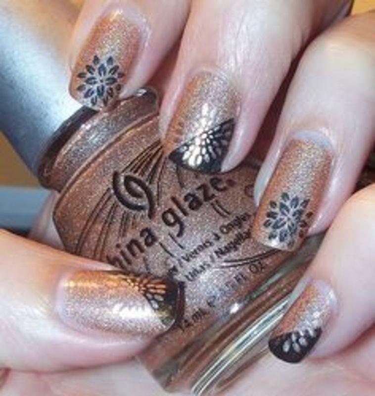 black and gold mums - duckduckgander nail art by Beatriz
