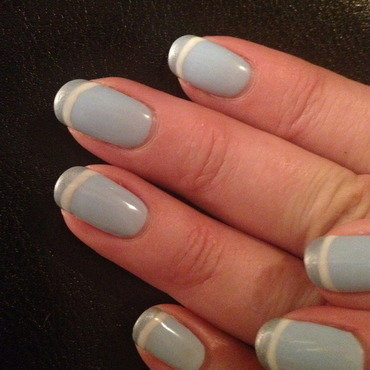 Baby Blue and White Stripes  nail art by Laurelle Alexandra