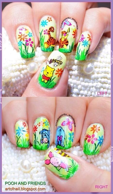 POOH AND FRIENDS nail art by artofnail