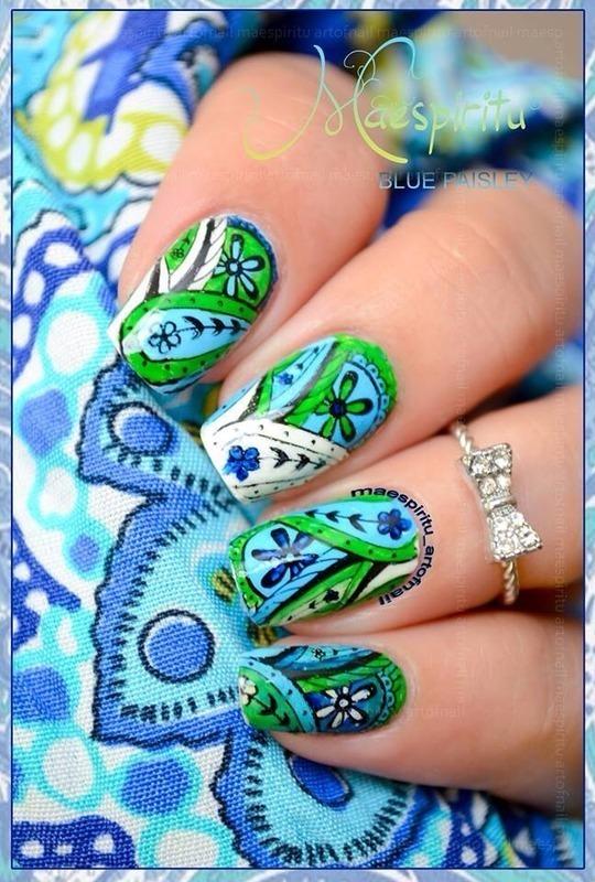 PAISLEY nail art by artofnail