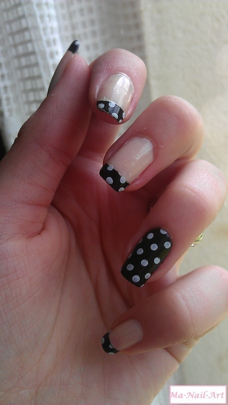 Dotted black french nail art by Maeva Lukec