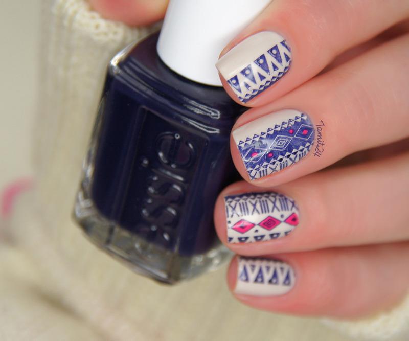 MoYou Aztec Satmping nail art by Paulina