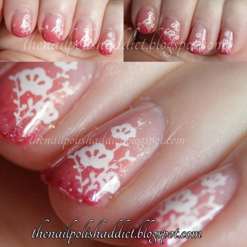 Floral Gradient nail art by Leah